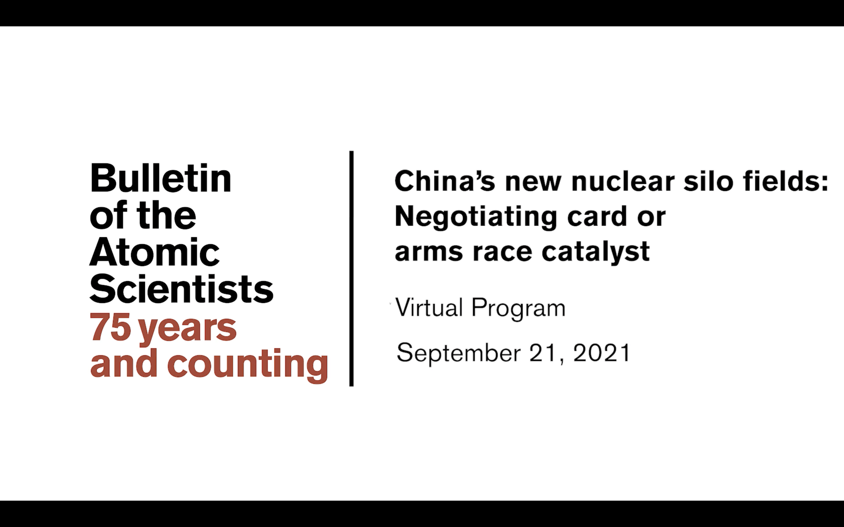 Watch Now—China's New Nuclear Silo Fields: Negotiating Card or Arms Race Catalyst